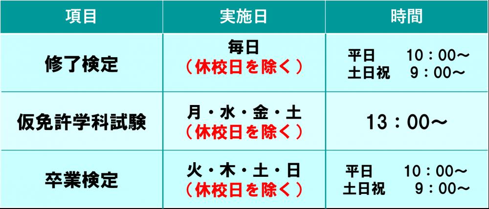 ロイヤルドライビングスクール広島 技能検定日