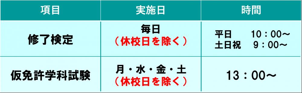 短期コース ロイヤルドライビングスクール広島 試験日程